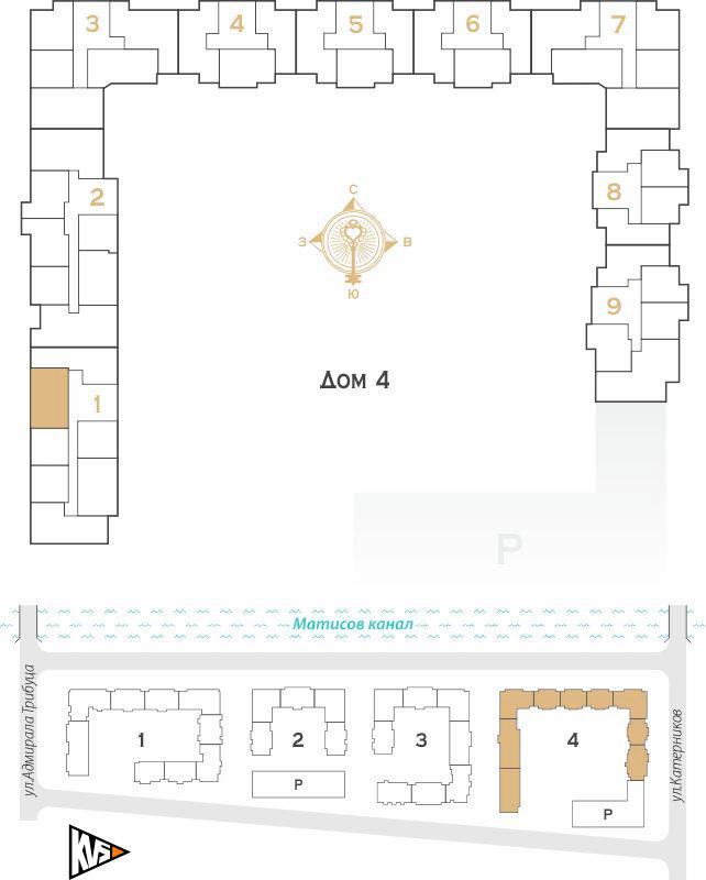 Планировка Двухкомнатная квартира площадью 55.69 кв.м в ЖК «Жилой комплекс Новое  «Наутилус»»