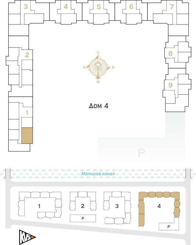 Планировка Двухкомнатная квартира площадью 55.97 кв.м в ЖК «Жилой комплекс Новое  «Наутилус»»